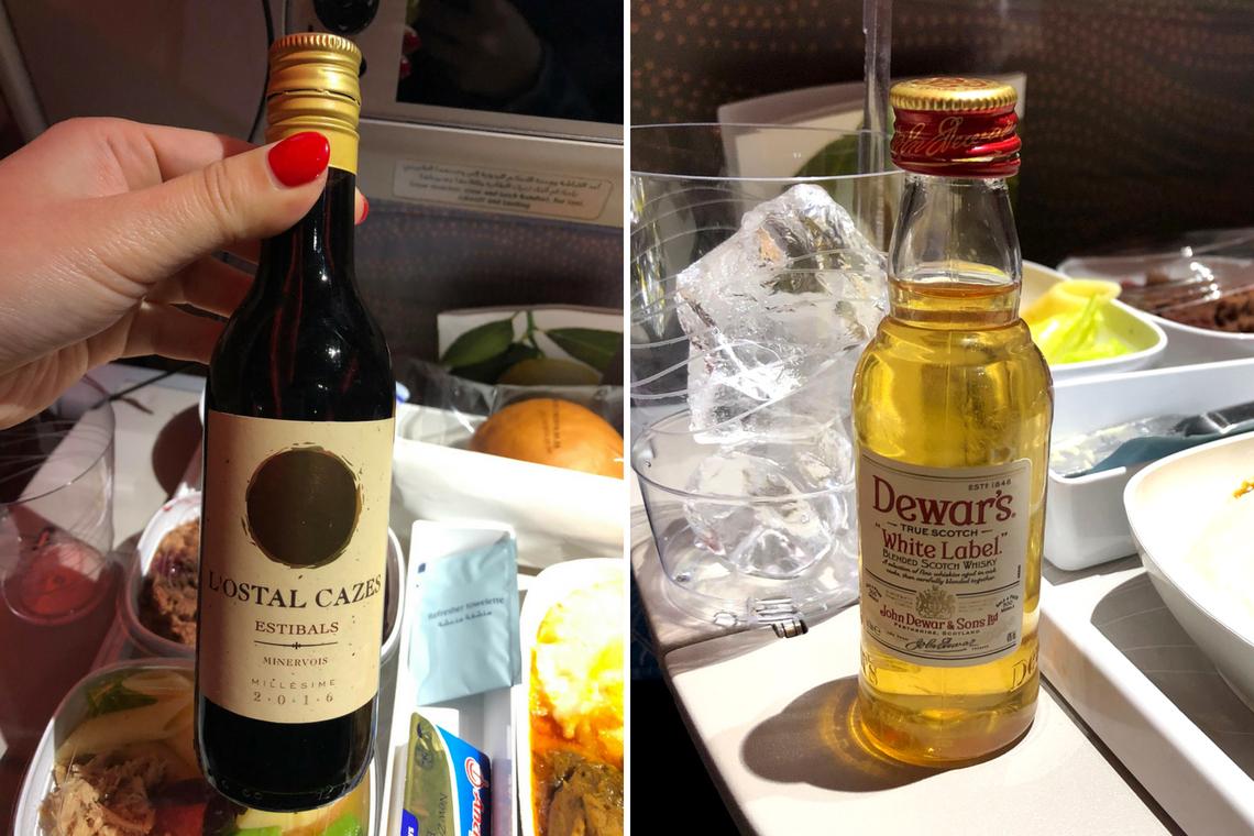 阿聯酋_飛機餐提供白酒紅酒