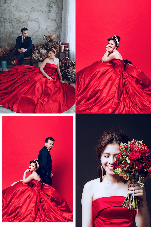 婚紗照_紅色緞面婚紗