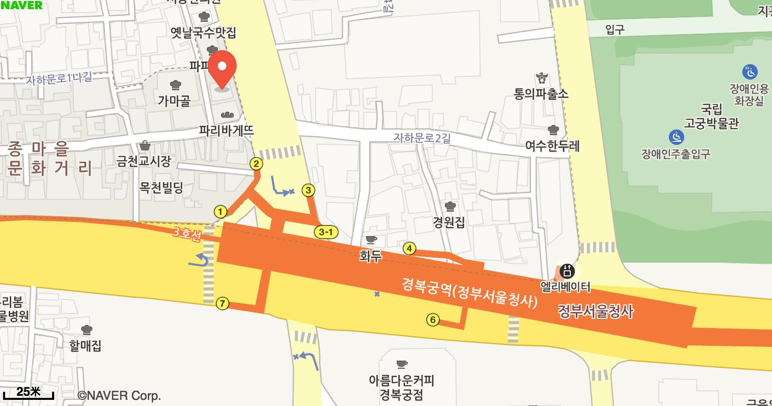 Hanbok Plus的地圖路線