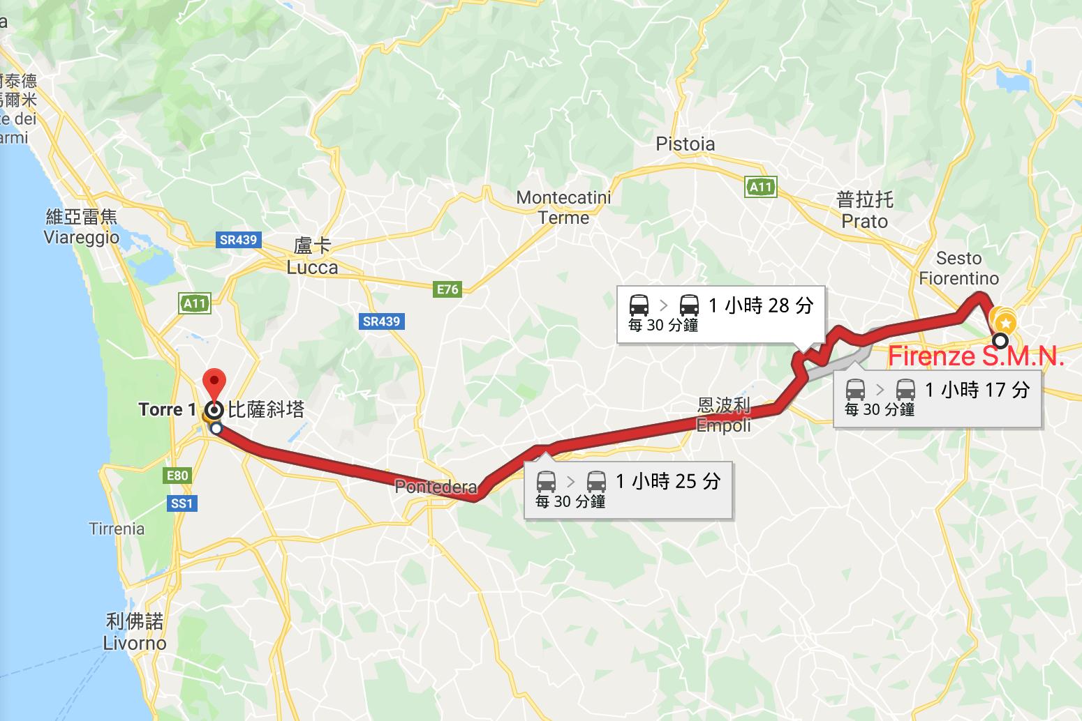 佛羅倫斯到比薩交通