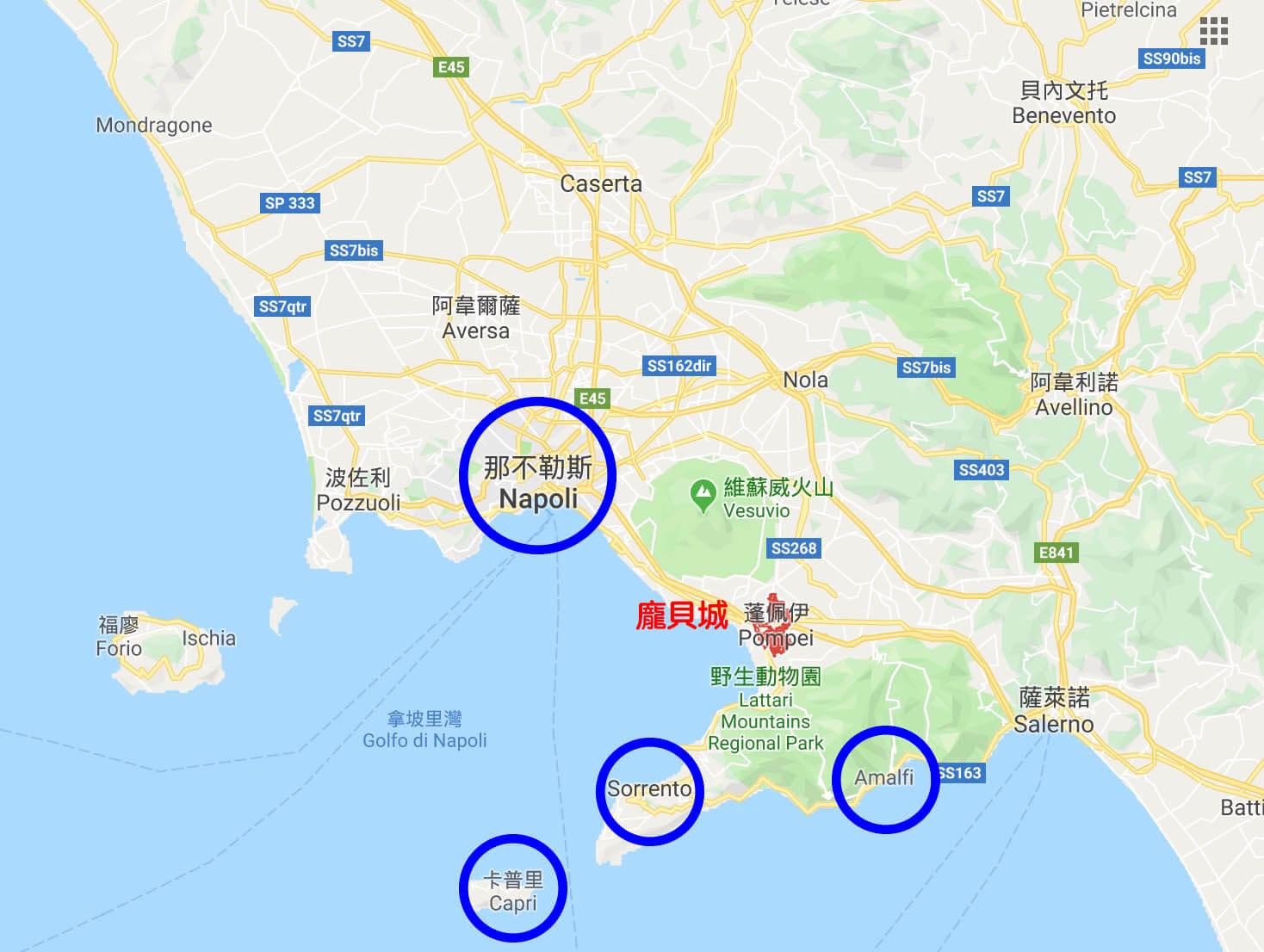 龐貝位置map