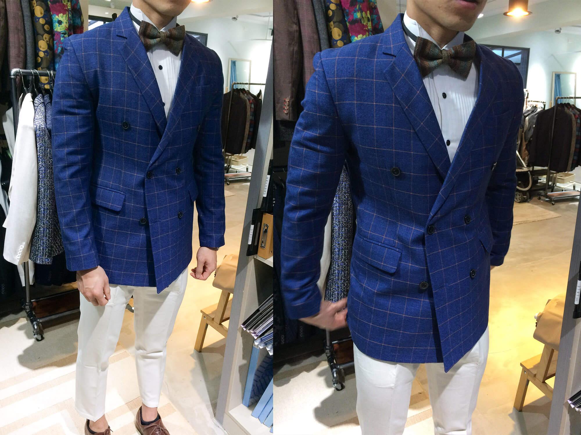 藍底黃線格紋雙釦西裝