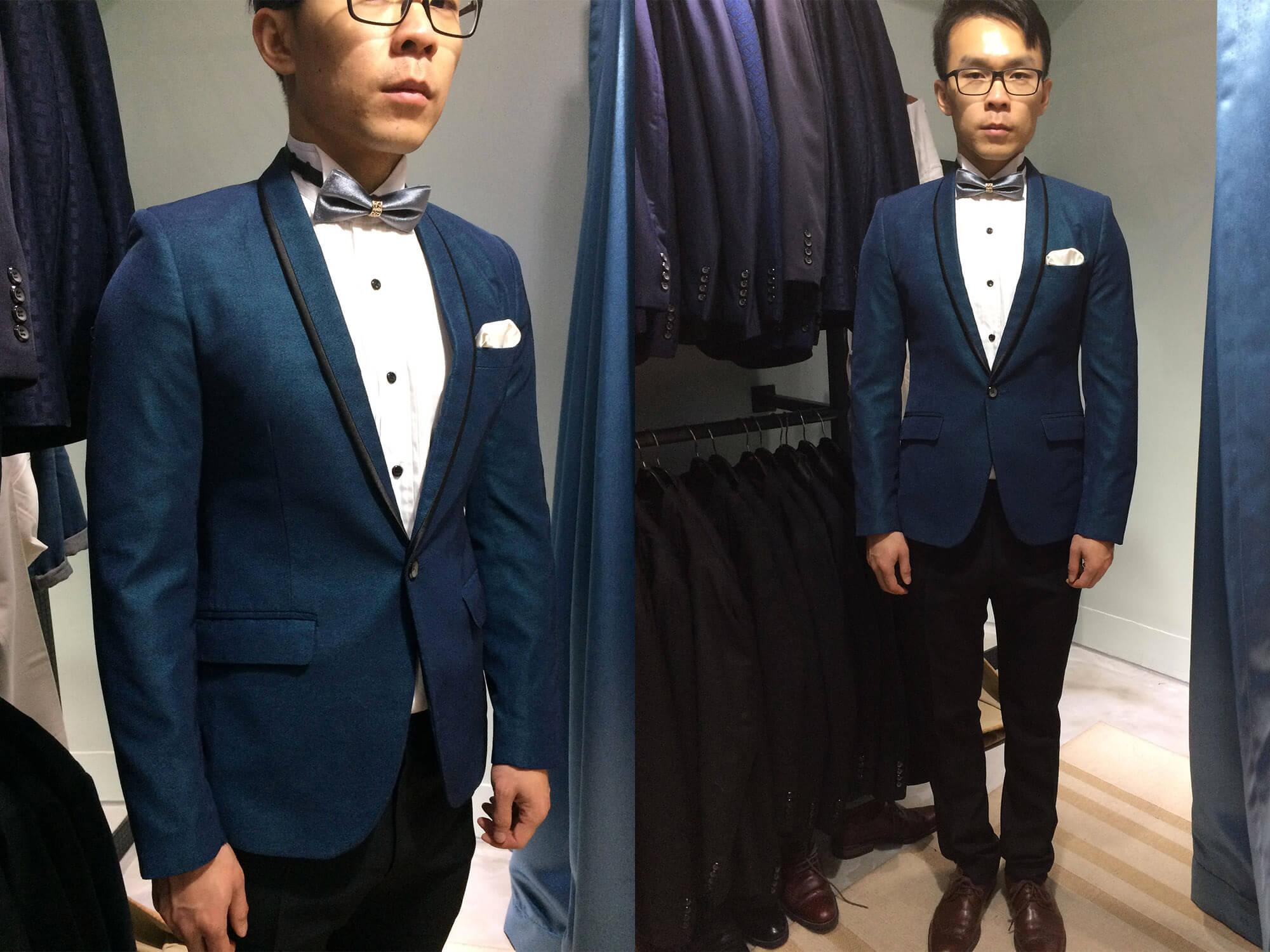 藍綠色單釦西裝
