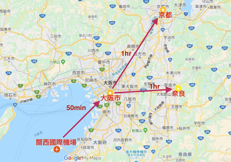 大阪到各地時間