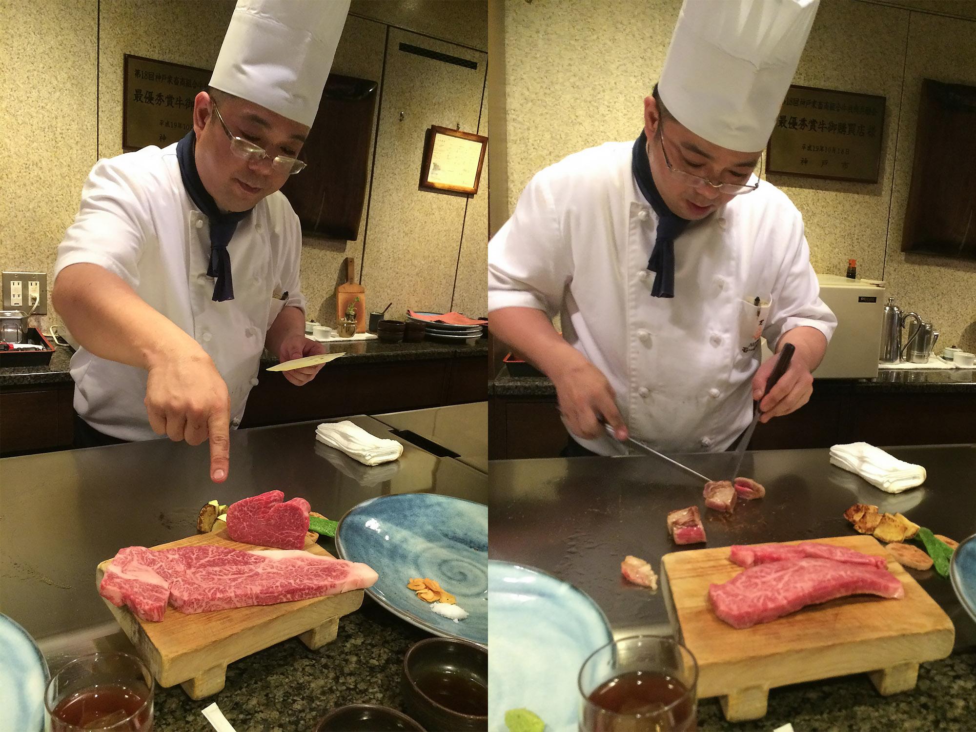 神戶牛開始烹調
