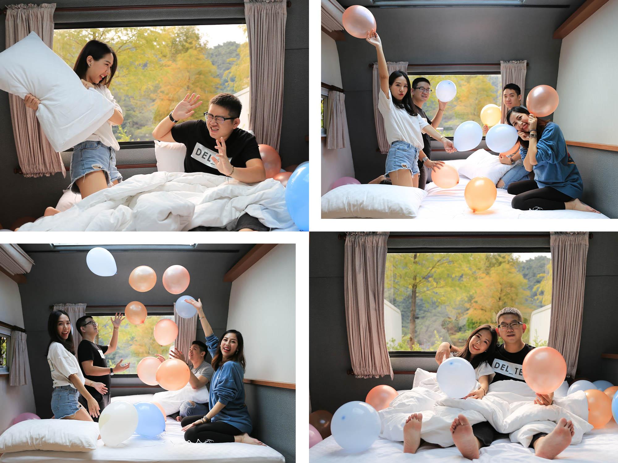 天ㄟ露營車內玩氣球