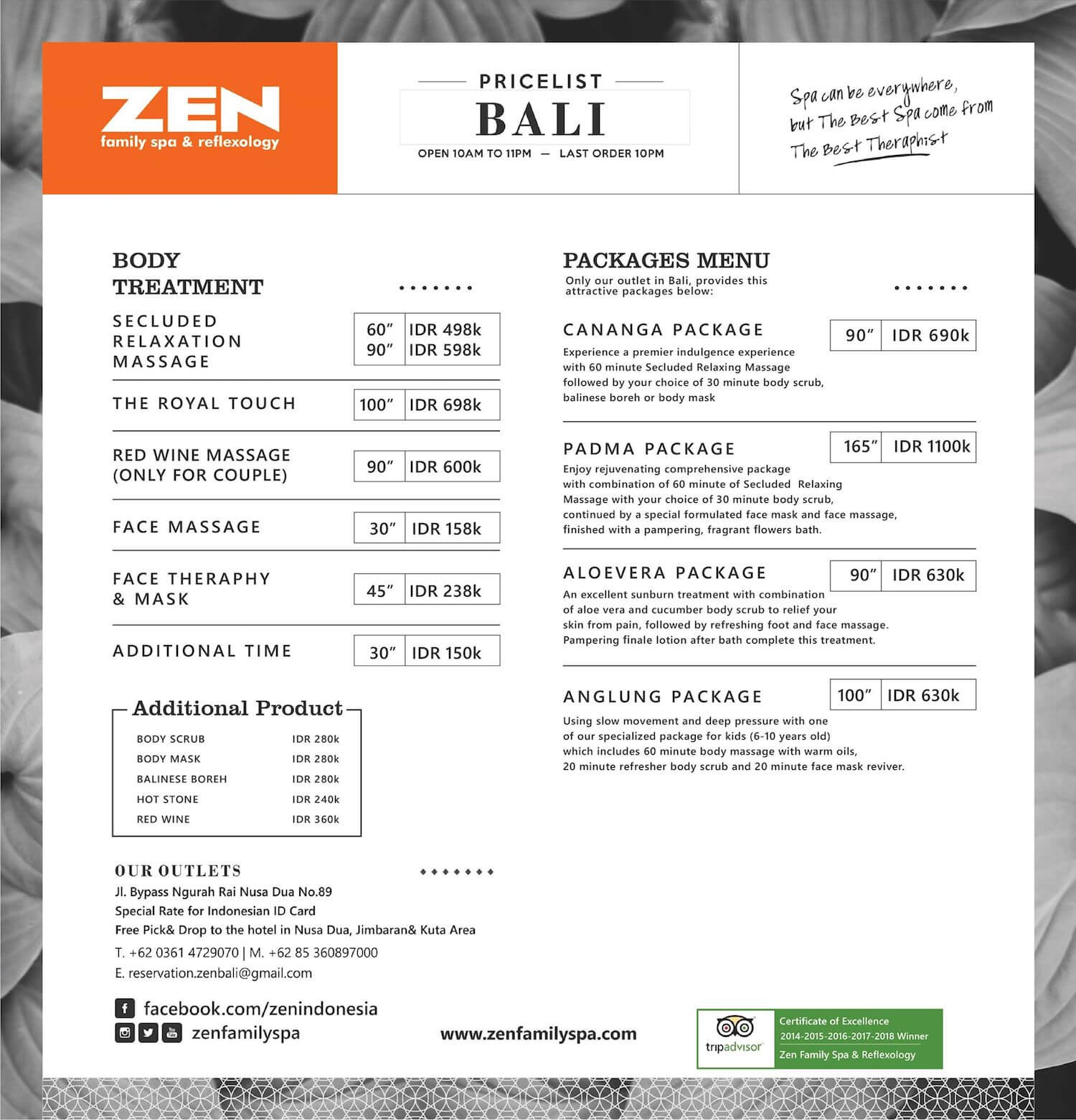 ZEN Family Spa-menu