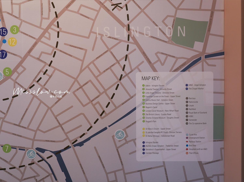 citadinesislingtonhotel倫敦住宿 櫃檯地圖1