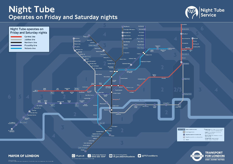 倫敦交通 11種交通工具全攻略:夜間地鐵路線地圖night tube