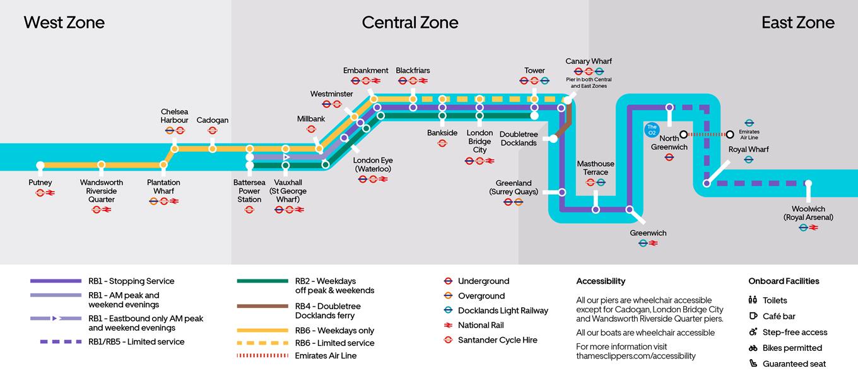 倫敦交通 11種交通工具全攻略:水上巴士 River Bus路線圖