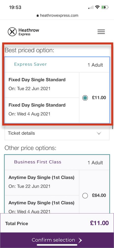 倫敦希斯洛機場 交通攻略:Heathrow Express線上購票教學