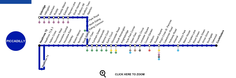 倫敦希斯洛機場交通攻略:Piccadilly line地鐵站的行經路線圖