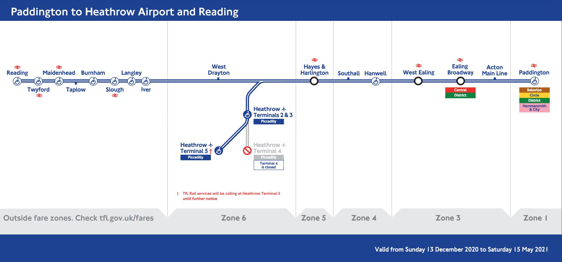 倫敦希斯洛機場 交通攻略:TFL Rail的行經路線圖