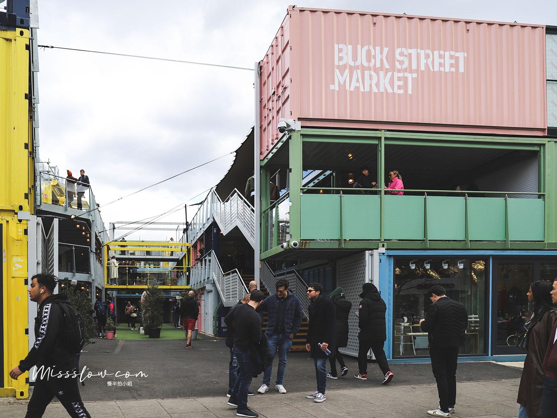 Camden Market的彩色貨櫃屋,裡面也有很多小店和小吃可以上去走走逛逛