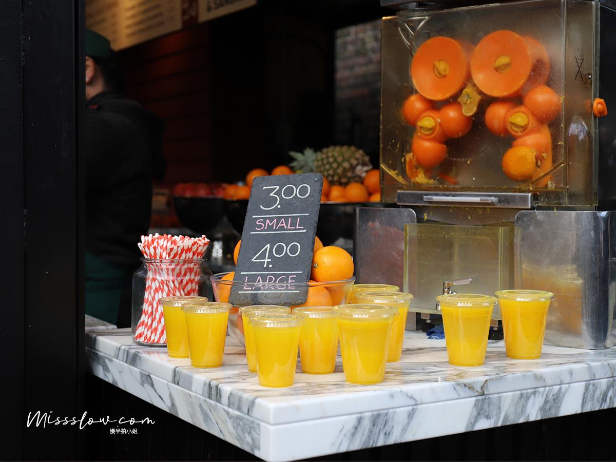 Camden Market肯頓市集攤販小吃 現搾柳橙汁