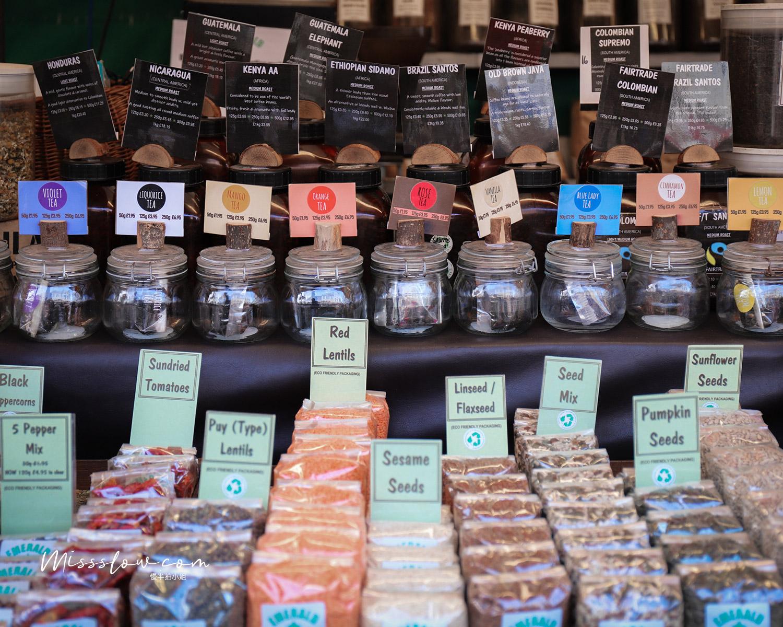 劍橋市集內的花草茶攤販