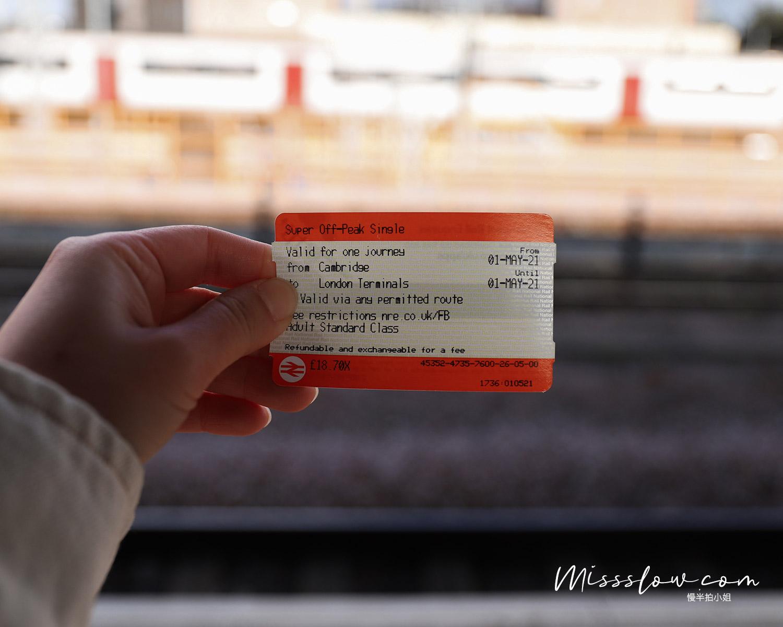 英國紙本橘色火車票