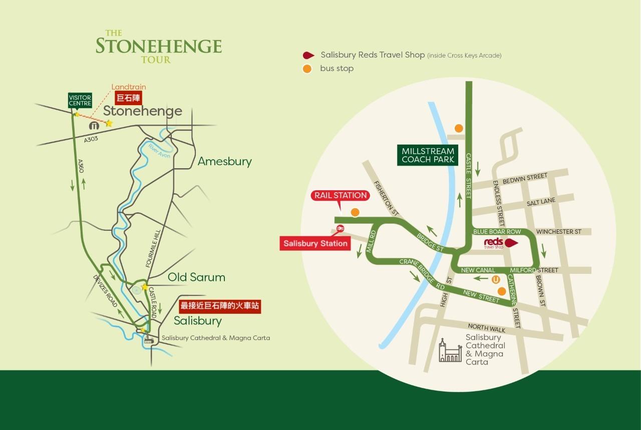 抵達Salisbury rail station後,巨石陣專車巴士的載送路線,車程約33分鐘。