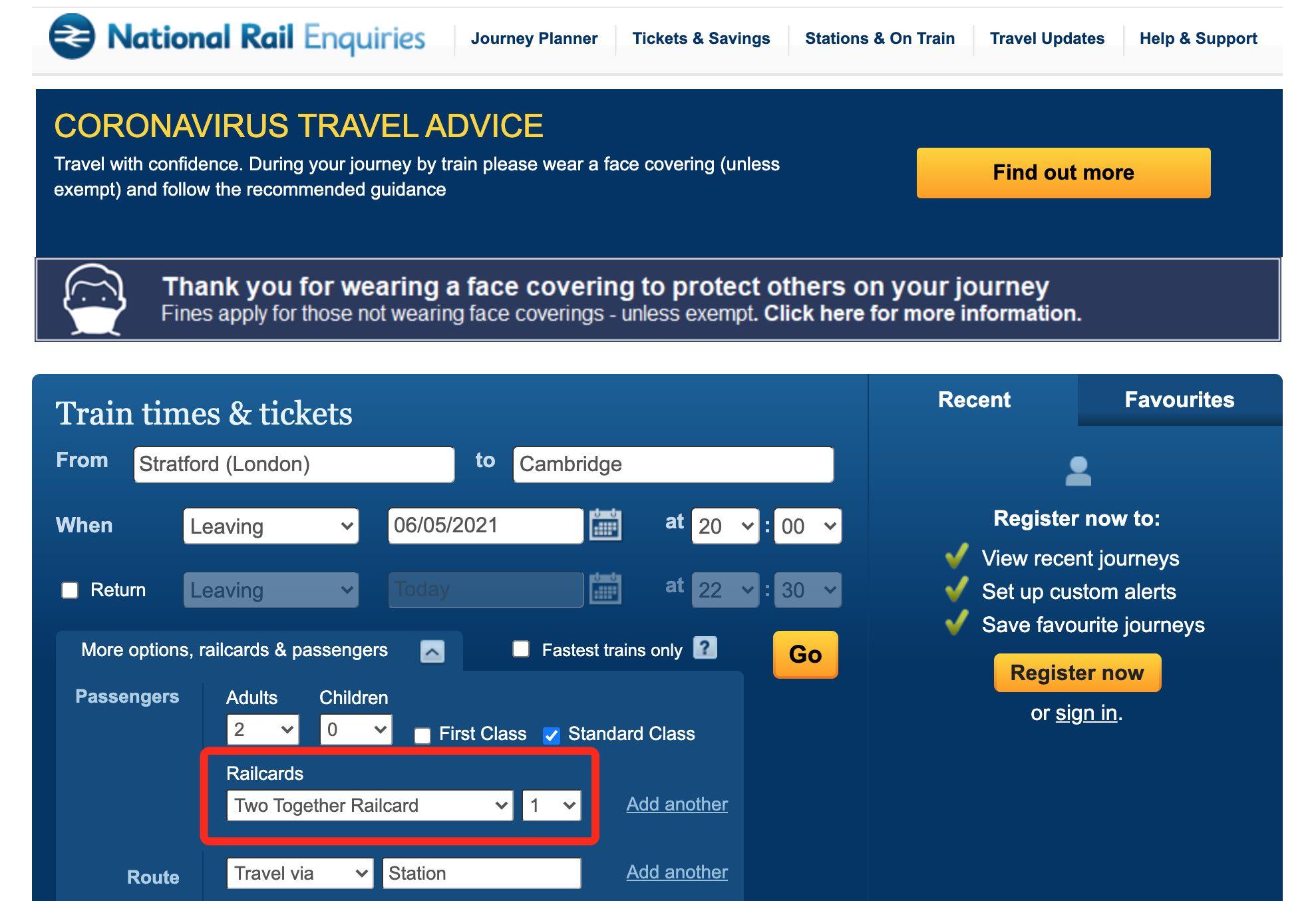 如何在英國國鐵買票時加註Two Together Railcard