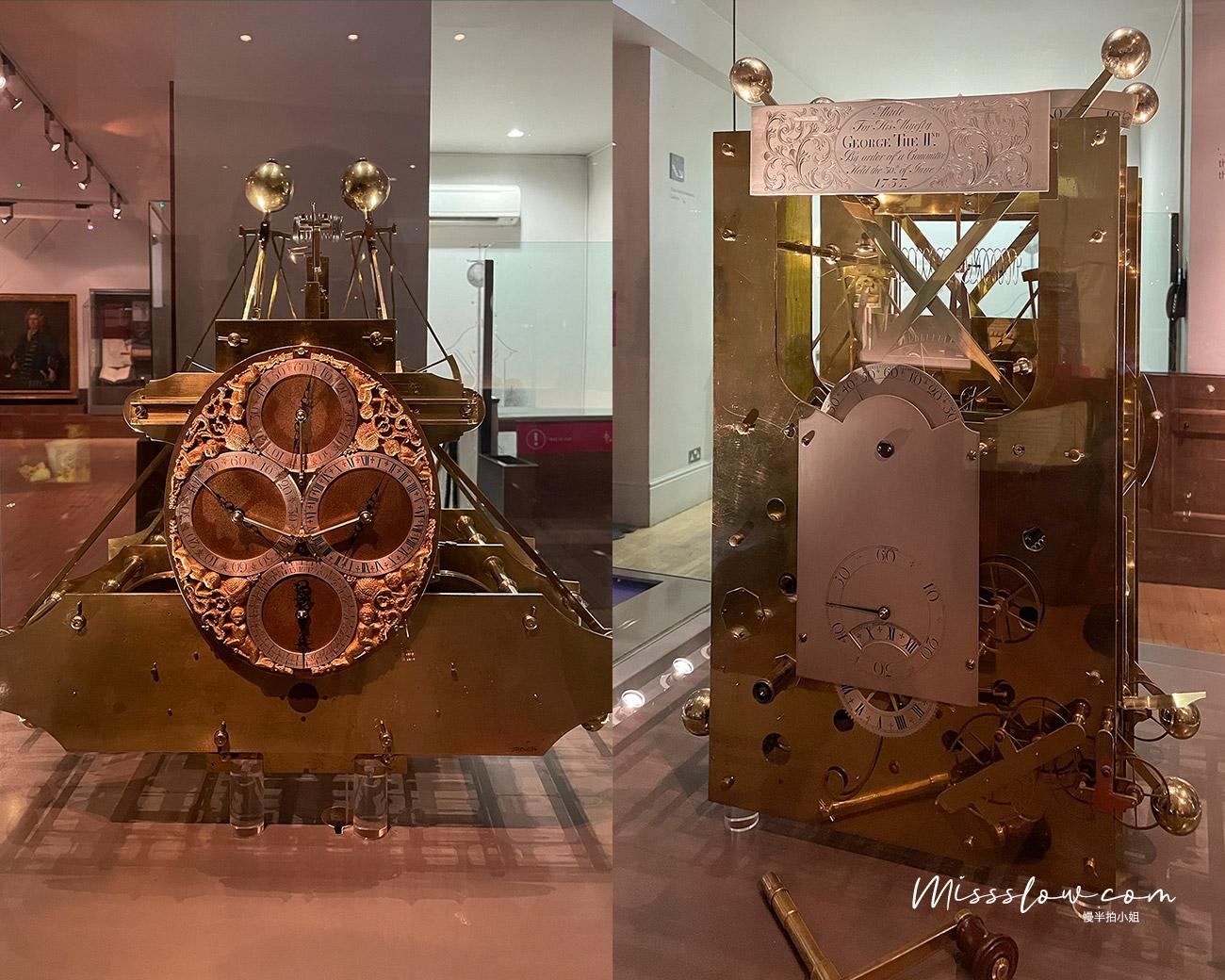 格林威治皇家天文台 時間陳列室-Harrison製作的第一代、第二代海洋計時器。