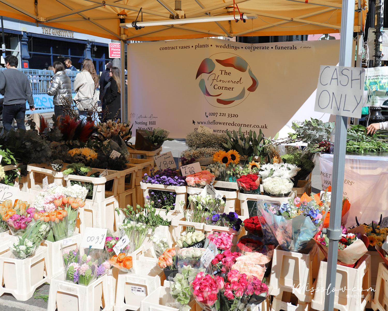 諾丁丘 上的Portobello Market鮮花攤位