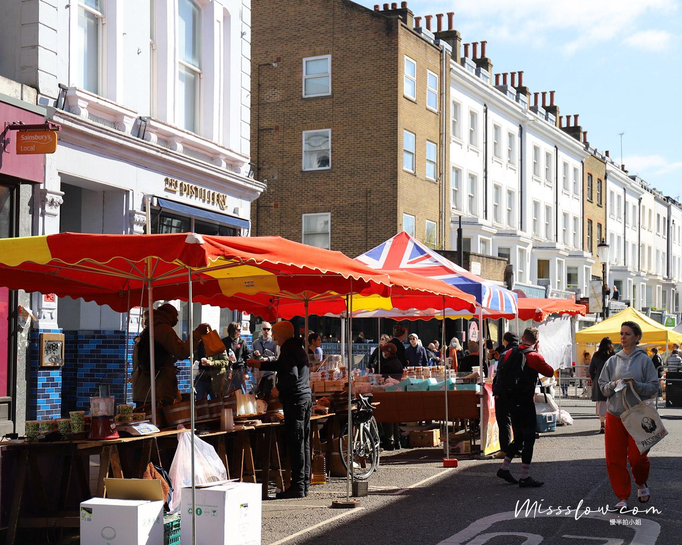 諾丁丘-一到週末就會聚滿攤販和人潮的Portobello Market