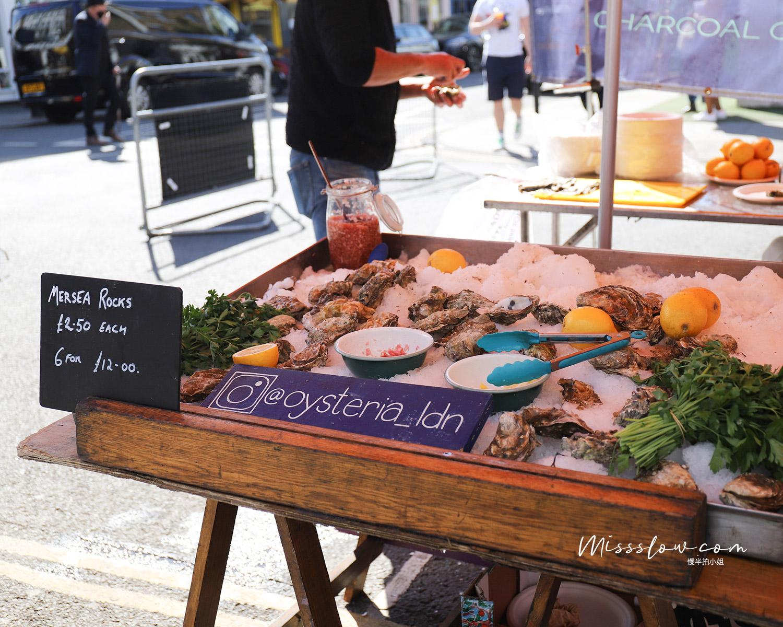 諾丁丘 上的Portobello Market的牡蠣攤