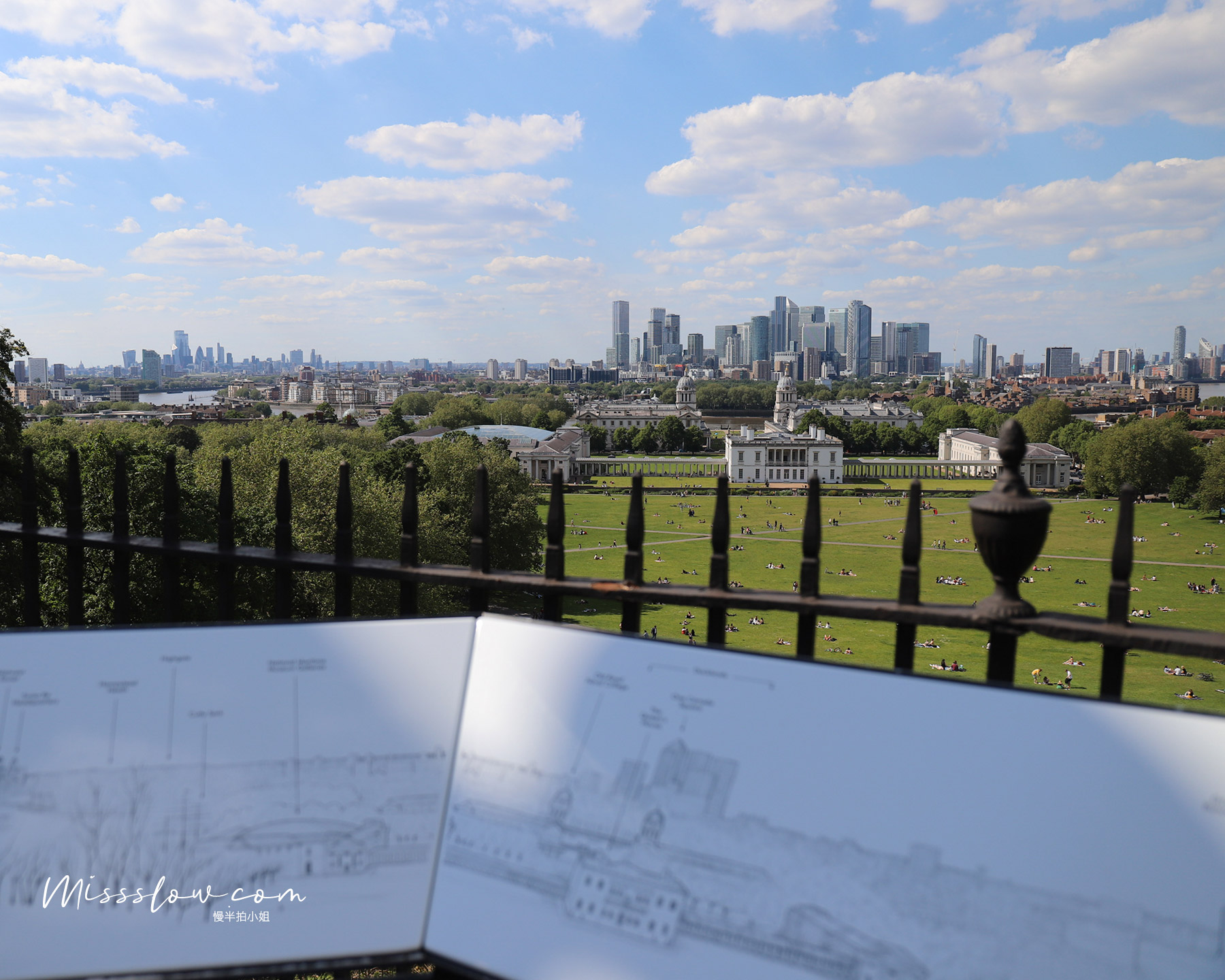 格林威治皇家天文台-中庭廣場看到泰晤士河北岸的眾多建築物,景色好壯觀!