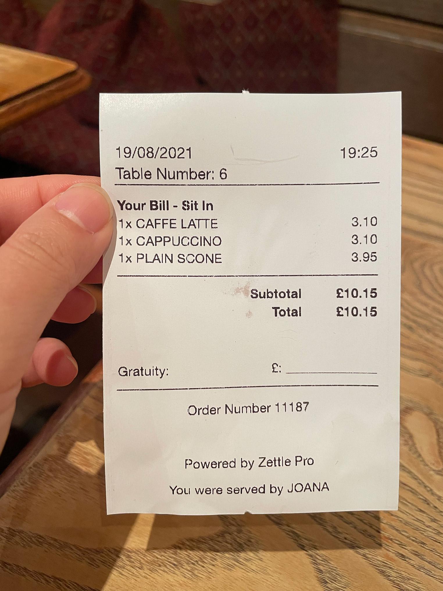 大象咖啡館-J·K羅琳創作《哈利波特》的咖啡廳 用餐收據花費